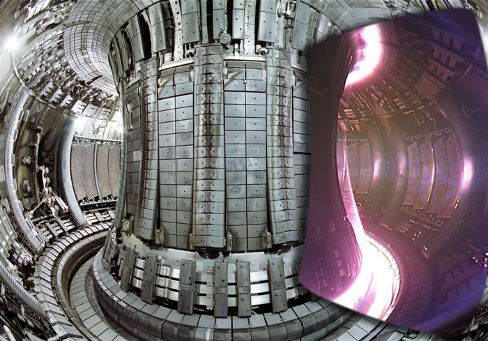 Internal view of the JET vacuum vessel. (Left) Empty vessel, (right) the vessel under operation with plasma inside. (Photo courtesy: EFDA-JET)