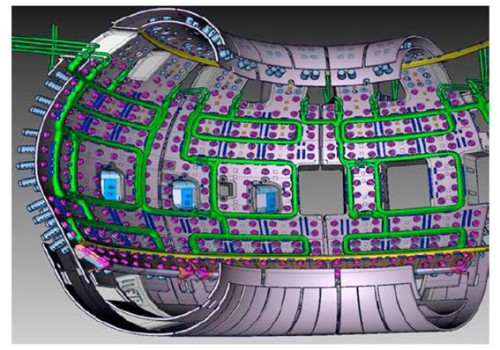 A cross section of the tokamak wall, with the new ELM coils in green (Source: [4])