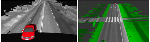 The reconstructed 3D map with gray levels from LIDAR reflectance (left) and the isolation of the ground plane (right). (Source:  [1])