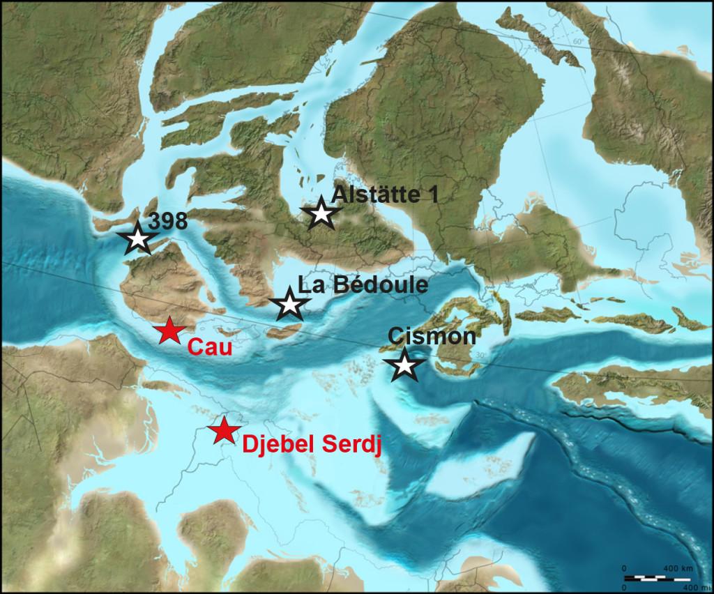 Figura mapa paleogeograìfico Aptiense 120 millones de anños
